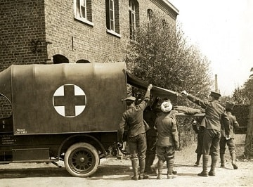 Casualty arriving at a Field Ambulance (British Library : Girdwood Collection )